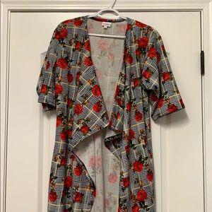 LuLaRoe Floral and Houndstooth Shirley Kimono